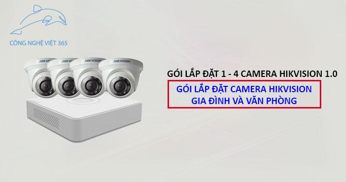Trọn gói lắp đặt 2 camera Hikvision 1.0 MP - Gói lắp đặt